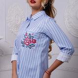 стильная рубашка в полоску лён в разных цветах 951