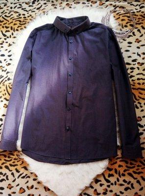 Плотная мужская рубашка с длинным рукавом синяя темная цветная