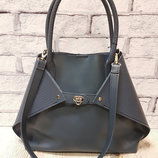 Женская сумка Флай натуральная кожа,серо-синяя с плетенкой