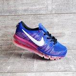 Женские кроссовки сетка Nike Air Max синие с розовым
