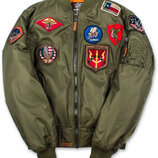 Бомбер Top Gun MA-1 Nylon Bomber Jacket with Patches оливковый