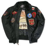 Бомбер Top Gun Official B-15 Flight Bomber Jacket with Patches черный
