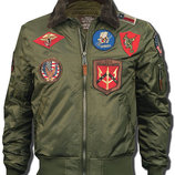 Бомбер Top Gun Official B-15 Flight Bomber Jacket with Patches оливковый