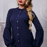 нарядная блуза рубашка с жемчугом в разных цветах 954