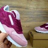 Кроссовки женские Reebok Classics burgundy/pink