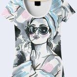 Женская футболка 3d Девушка с помадой Большой выбор