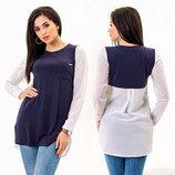 Женская стильная блуза-туника до больших размеров 1559 Трикотаж Креп Комби Контраст в расцветках .