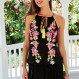 Новинка 2018 , Обалденное летнее черное платье с вышивкой 280 A, Indiano