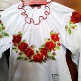 Блуза с вышивкой в размерах, с длинным рукавом