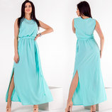 Женское стильное длинное платье до больших размеров 417 Штапель Плечи Бусинки в расцветках.