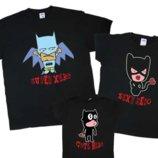 Комплект футболок Супер герои в масках, family look, 6 цветов