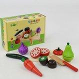 Деревянные разрезные продукты овощи на липучках F21437 игрушечная еда