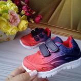 Кроссовки для мальчика и девочки градиент красно-синие размер 21-26