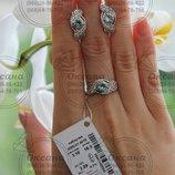 Срібний набір, серебряный набор, срібло з напаяними пластинками золота, серебряные украшения