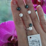Жіночий рібний набір сережки вкрутки, серебряный набор с жемчугом, срібло , серебряные украшения