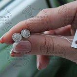 жіночі срібні сережки пусети з фіанітами, женские серебряные серьги гводики