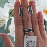жіночий срібний набір з емалью, женские серебряные серьги и кольцо с ємалью, срібна каблучка