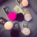 Зеркальный золотой чехол с розовым помпоном iphone 5S 5SE 6 6S