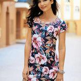 Новинки 2018 Модное платье в цветах с вышивкой Индиано из хлопка 443