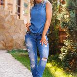 Женские стильные джинсы слимы 1520.