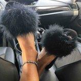 Хит сезона лето 2018, модные шлепанцы тапули, шлепки с перьями страуса 36, 37, 38, 39, 40