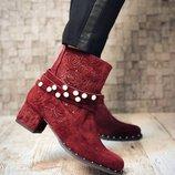 Женские ботильоны ботинки, натуральная кожа и замша