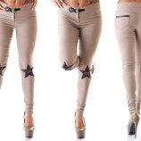 Женские стильные брюки стрейч 303 Звёзды Пайетки в расцветках.