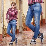 Стильные женские джинсы бойфренд до XL 3301.