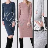 42-48 Вязаное платье ажурный рисунок, платье до колена