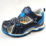 Босоножки сандалии для мальчика кожа 26-31р. Clibee черные с синим 3274