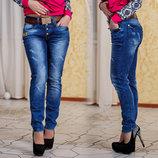Стильные женские джинсы до больших размеров Бойфренд 0759 .