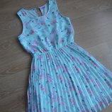 платье девочке 11-12 л цветы новае без бирки тифани голубое цветы F&F