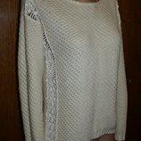 S-M свитер с гипюром, нарядный женский свитер, белый свитер, джемпер, вязаный свитер, кофта нарядная