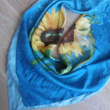 платок шелк голубой подсолнухи женский
