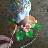 Обруч Пасха ручная работа, пасхальный веночек, цветы из лент