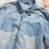 Идеальная светлая джинсовая рубашка длинный рукав голубая синяя карманы