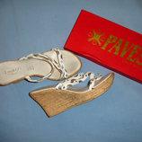 женские шлепки на танкетке размер 35-36 каблук белые летняя обувь босоножки шлепанцы шлепки женские