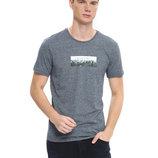 Светло-Серая мужская футболка LC Waikiki / Лс Вайкики с рисунком и надписью на груди