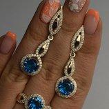 Серьги с кольцом серебряные с золотом и фианитами 089