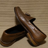 Благородные коричневые кожаные туфли-лоферы M&S Sartorial Англия UK 8.