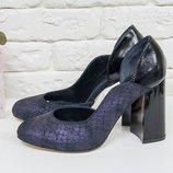Кожаные туфли Питон на утолщенном каблуке 17423-03 ,р-ры 36-40