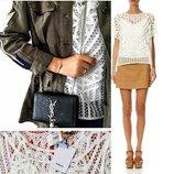 Кружевная блуза с майкой вместе, Suncoo Сша,с короткими рукавами, оверсайз разм. s
