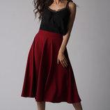 Классическая юбка полусолнце миди черная, красная и другие цвета все размеры в стиле Бохо на резинке