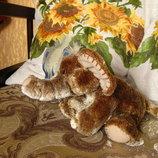 Фирменный мягкий, очень пушистый слоник 22х12 см красивый золотистый цвет