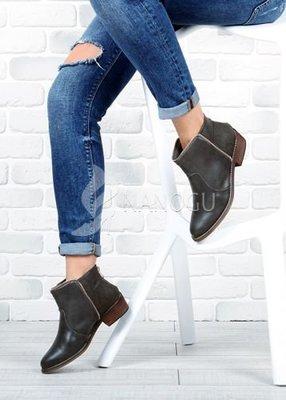 Ботинки Казаки хаки женские на широком устойчивом каблуке с молнией Best