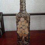 Бутылка,оформленная в технике декупаж «Денежное дерево»