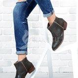Ботинки женские на широком устойчивом каблуке с молнией Best Grey темно-серые