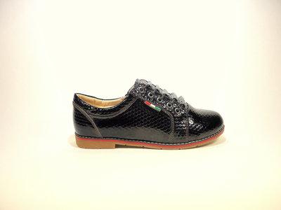 Женские черные туфли оксфорды, лак, на шнурках. Размер 36-41.