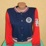 Кофта спортивная олимпийка синяя с красным на девочку подростка 14-15 лет New Look