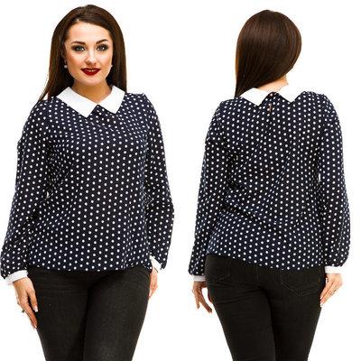 46f5eaae938 Элегантная женская блузка в больших размерах 5067 Горошек Воротничок  Контраст в расцветках.